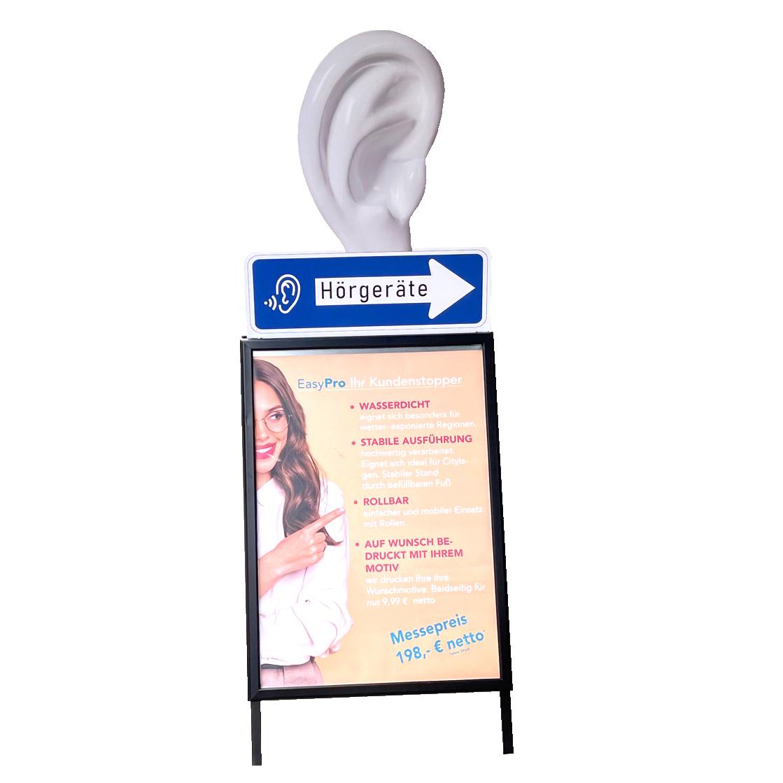 Doppelseitiger, wasserfester Kundenstopper DIN A1 mit Ohraufsatz