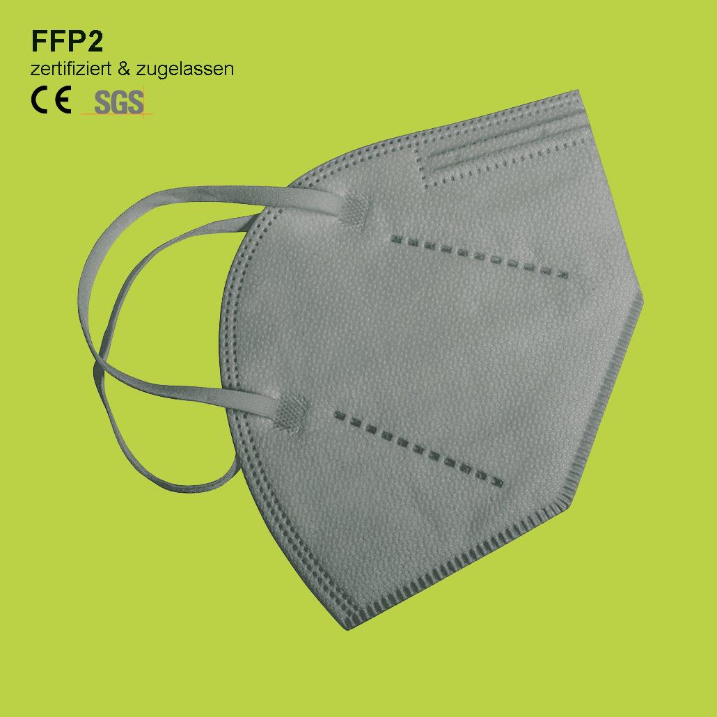 FFP2 Maske grau zertifiziert - mit geringem Atemwiederstand