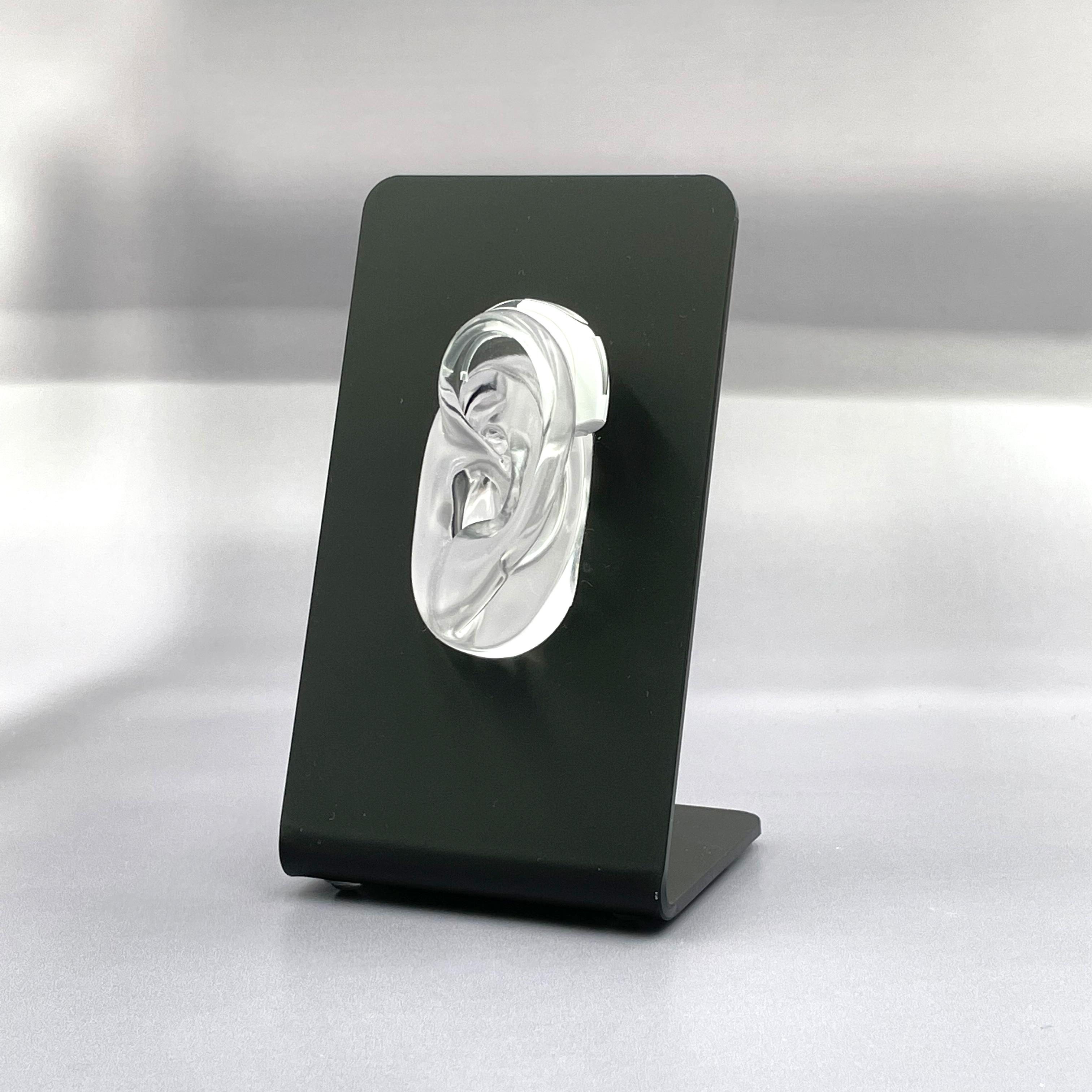 Ohrständer m. transparentem Deko Silikon-Ohr für Hörgeräte