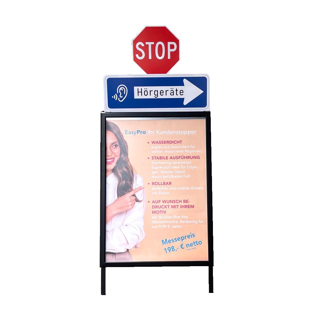 Doppelseitiger, wasserfester Kundenstopper DIN A1 mit Stopaufsatz