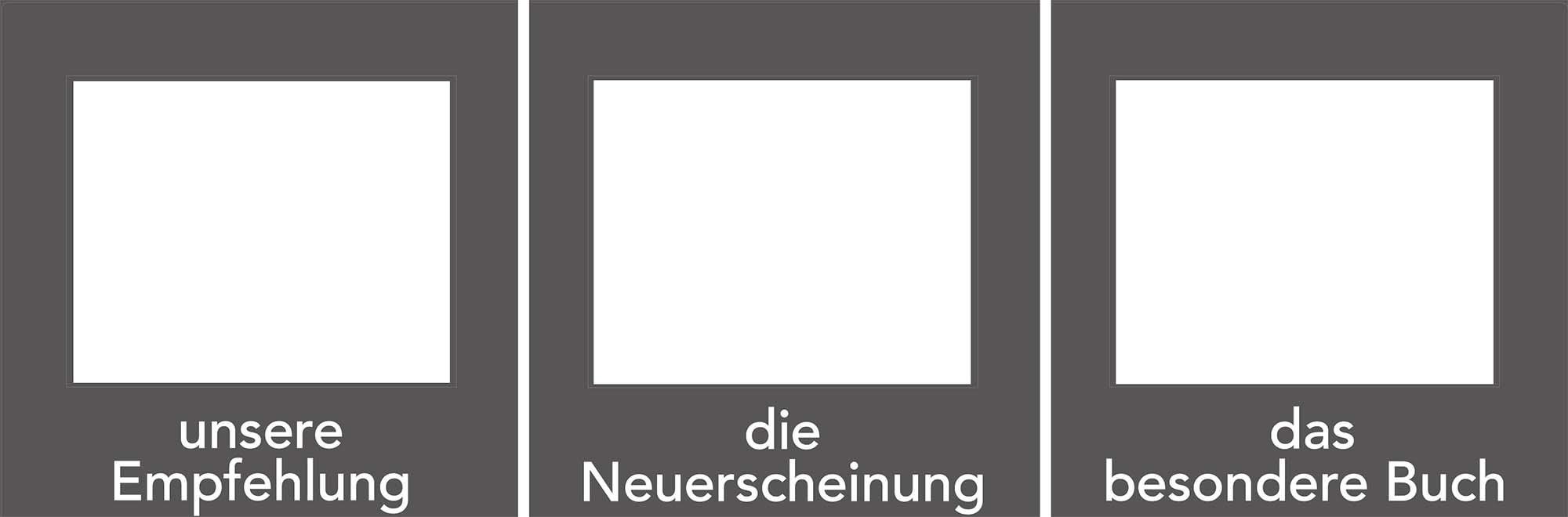 3er Set Decoframe Folien für Buchhandlungen grau