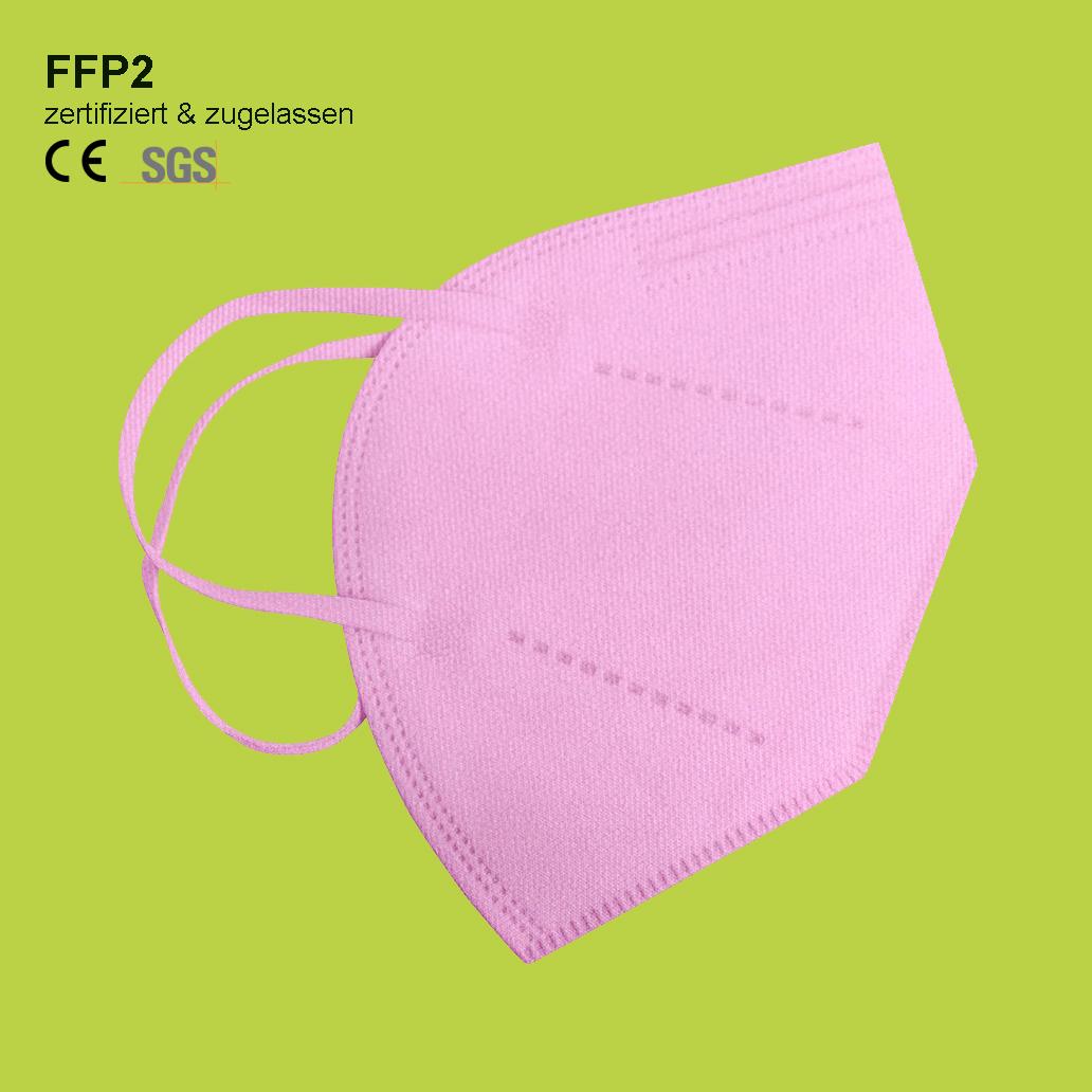 FFP2 Maske rosa zertifiziert - mit geringem Atemwiederstand