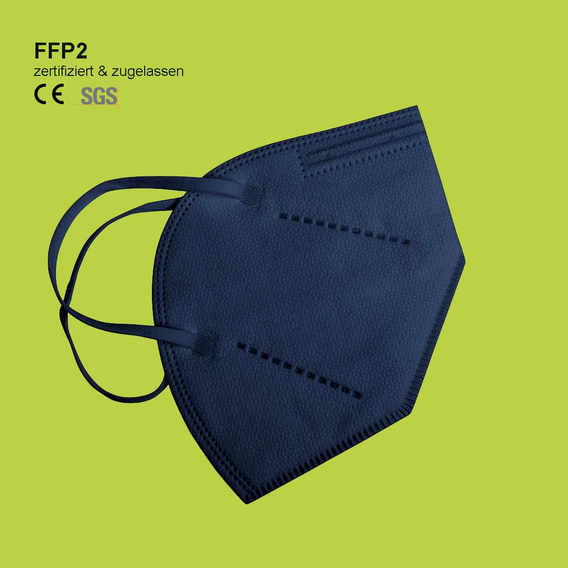 FFP2 Maske blau zertifiziert - mit geringem Atemwiederstand
